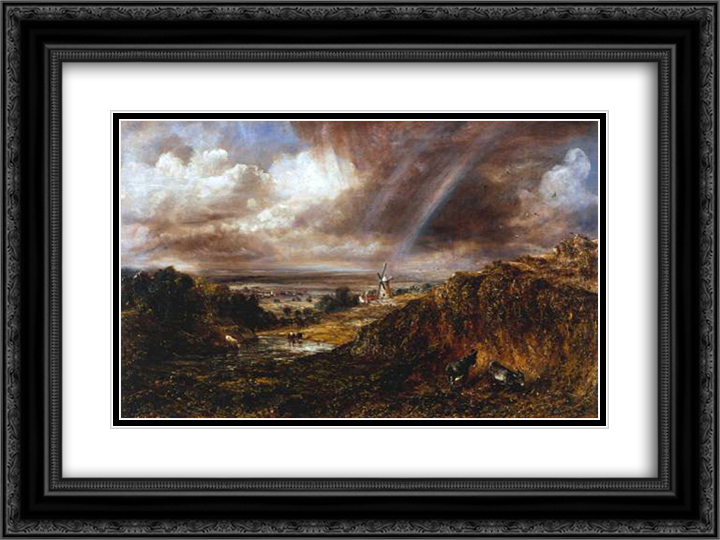 Hampstead Heath with a Rainbow 24x18 Black or Gold Ornate Framed and Double Matted Art Print by John Constable