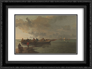 A Barge with a Wounded Soldier 24x18 Black or Gold Ornate Framed and Double Matted Art Print by John Crome