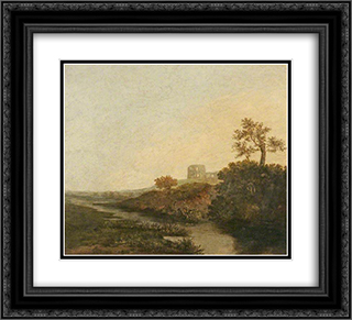 A Castle in Ruins, Morning 22x20 Black or Gold Ornate Framed and Double Matted Art Print by John Crome