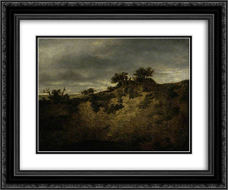 A Sandy Hollow 24x20 Black or Gold Ornate Framed and Double Matted Art Print by John Crome