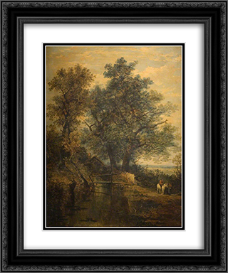 A Stream, Bridge, Trees and Two Figures in a Landscape 20x24 Black or Gold Ornate Framed and Double Matted Art Print by John Crome