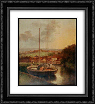 A View on the Wensum, Norfolk 20x22 Black or Gold Ornate Framed and Double Matted Art Print by John Crome