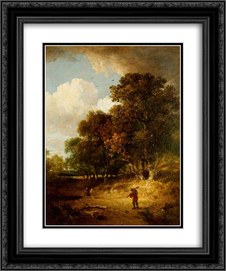 A Woody Landscape 20x24 Black or Gold Ornate Framed and Double Matted Art Print by John Crome