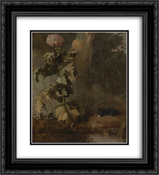 An Egyptian Poppy and a Water Mole 20x22 Black or Gold Ornate Framed and Double Matted Art Print by John Crome