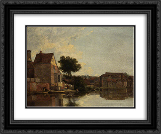 Back of the New Mills, Norfolk 24x20 Black or Gold Ornate Framed and Double Matted Art Print by John Crome