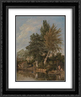 Boys Bathing on the River Wensum, Norwich 20x24 Black or Gold Ornate Framed and Double Matted Art Print by John Crome