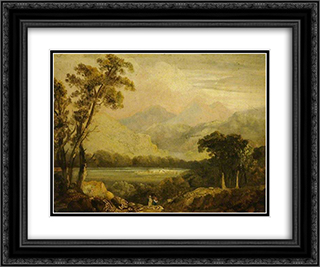 Landscape with a River 24x20 Black or Gold Ornate Framed and Double Matted Art Print by John Crome