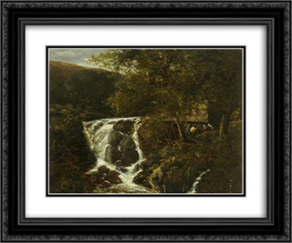 Landscape with a Waterfall near Norwich, Norfolk 24x20 Black or Gold Ornate Framed and Double Matted Art Print by John Crome