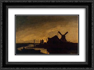 Moonrise on the Yare 24x18 Black or Gold Ornate Framed and Double Matted Art Print by John Crome