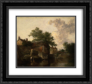 New Mills, Norfolk Men Wading 22x20 Black or Gold Ornate Framed and Double Matted Art Print by John Crome