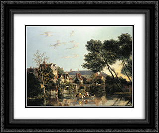 Norwich River Afternoon 24x20 Black or Gold Ornate Framed and Double Matted Art Print by John Crome