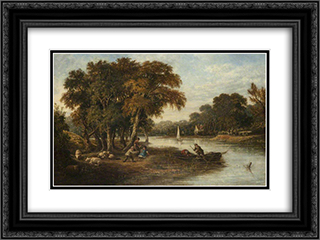 River Wensum 24x18 Black or Gold Ornate Framed and Double Matted Art Print by John Crome