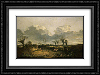 Road with Pollards 24x18 Black or Gold Ornate Framed and Double Matted Art Print by John Crome