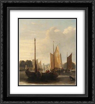 Sailing Barges 20x22 Black or Gold Ornate Framed and Double Matted Art Print by John Crome