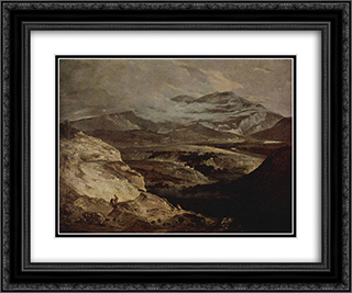 Slate Quarries 24x20 Black or Gold Ornate Framed and Double Matted Art Print by John Crome
