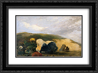 Study of Flints 24x18 Black or Gold Ornate Framed and Double Matted Art Print by John Crome