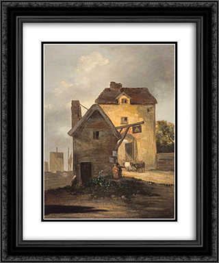 The Bell Inn 20x24 Black or Gold Ornate Framed and Double Matted Art Print by John Crome