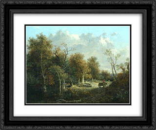 The Edge of the Forest 24x20 Black or Gold Ornate Framed and Double Matted Art Print by John Crome
