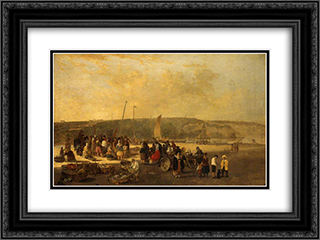 The Fish Market, Boulogne, France 24x18 Black or Gold Ornate Framed and Double Matted Art Print by John Crome