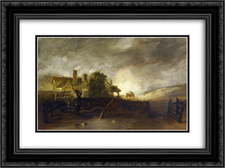 The Lime Kiln 24x18 Black or Gold Ornate Framed and Double Matted Art Print by John Crome