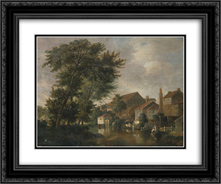 The River Wensum, Norwich 24x20 Black or Gold Ornate Framed and Double Matted Art Print by John Crome