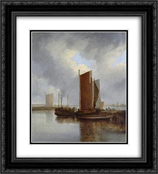 The Steam Packet 20x22 Black or Gold Ornate Framed and Double Matted Art Print by John Crome