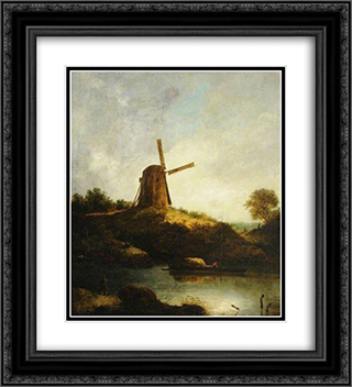 The Windmill 20x22 Black or Gold Ornate Framed and Double Matted Art Print by John Crome