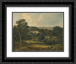 View near Norwich with Harvesters 24x20 Black or Gold Ornate Framed and Double Matted Art Print by John Crome