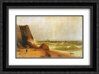 Near Newport, Rhode Island 24x18 Black or Gold Ornate Framed and Double Matted Art Print by John Frederick Kensett