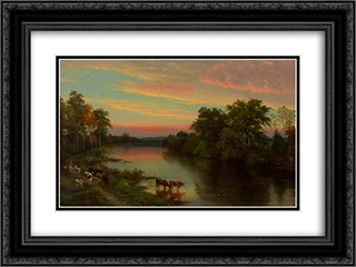 Sunset with Cows 24x18 Black or Gold Ornate Framed and Double Matted Art Print by John Frederick Kensett