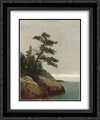 The Old Pine, Darien, Connecticut 20x24 Black or Gold Ornate Framed and Double Matted Art Print by John Frederick Kensett