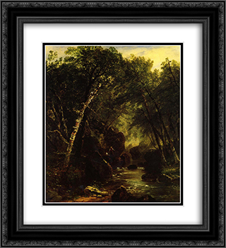 Trout Fisherman 20x22 Black or Gold Ornate Framed and Double Matted Art Print by John Frederick Kensett
