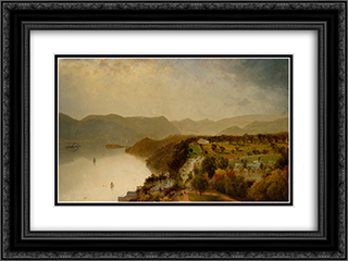 View from Cozzen's Hotel near West Point, N.Y. 24x18 Black or Gold Ornate Framed and Double Matted Art Print by John Frederick Kensett