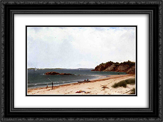 View of the Beach at Beverly, Massachusetts 24x18 Black or Gold Ornate Framed and Double Matted Art Print by John Frederick Kensett