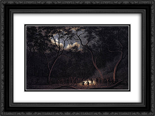 A Corroboree in Van Diemen's Land 24x18 Black or Gold Ornate Framed and Double Matted Art Print by John Glover