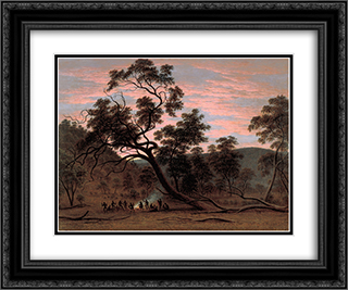 A corroboree of natives in Mills Plains 24x20 Black or Gold Ornate Framed and Double Matted Art Print by John Glover