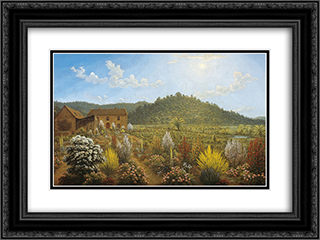 A view of the artist's house and garden, in Mills Plains, Van Diemen's Land 24x18 Black or Gold Ornate Framed and Double Matted Art Print by John Glover