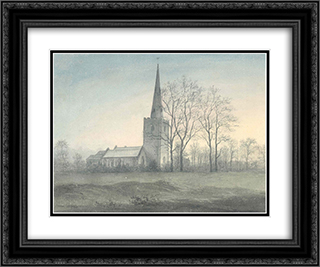 Appleby Magna Church 24x20 Black or Gold Ornate Framed and Double Matted Art Print by John Glover