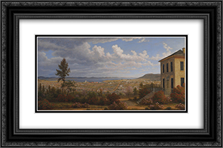 Hobart Town, taken from the garden where I lived 24x16 Black or Gold Ornate Framed and Double Matted Art Print by John Glover
