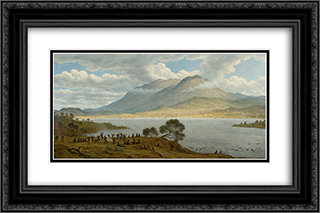 Mount Wellington and Hobart Town from Kangaroo Point 24x16 Black or Gold Ornate Framed and Double Matted Art Print by John Glover