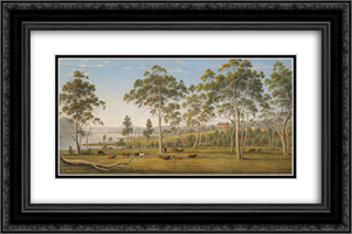 Mr Robinson's house on the Derwent, Van Diemen's Land 24x16 Black or Gold Ornate Framed and Double Matted Art Print by John Glover