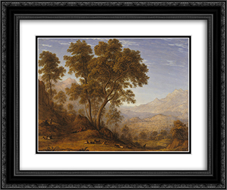 My last view of Italy, looking from the alps over Suza 24x20 Black or Gold Ornate Framed and Double Matted Art Print by John Glover