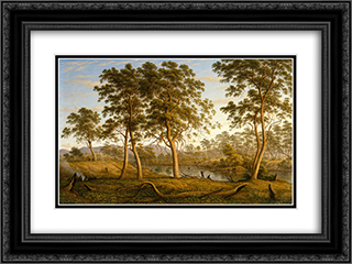Natives on the Ouse River, Van Diemen's Land 24x18 Black or Gold Ornate Framed and Double Matted Art Print by John Glover