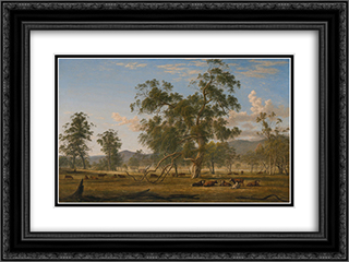 Patterdale landscape with cattle 24x18 Black or Gold Ornate Framed and Double Matted Art Print by John Glover