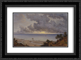 Sandown Bay, from near Shanklin Chine, Isle of Wight 24x18 Black or Gold Ornate Framed and Double Matted Art Print by John Glover