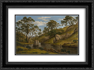 The bath of Diana, Van Diemen's Land 24x18 Black or Gold Ornate Framed and Double Matted Art Print by John Glover