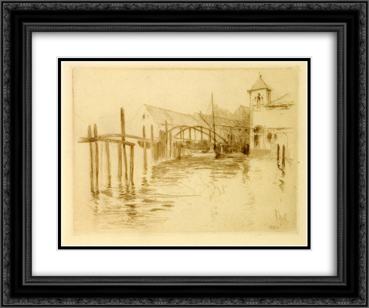 Dock at Newport 24x20 Black or Gold Ornate Framed and Double Matted Art Print by John Henry Twachtman