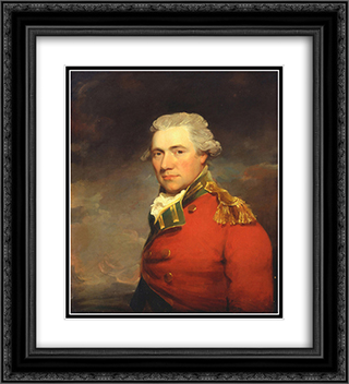 An Unknown British Officer 20x22 Black or Gold Ornate Framed and Double Matted Art Print by John Hoppner