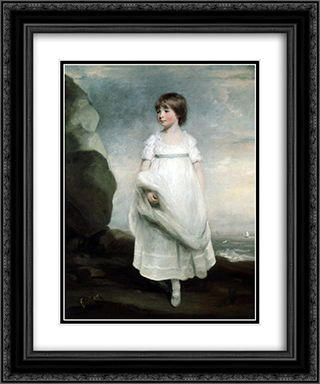 Little girl by the sea 20x24 Black or Gold Ornate Framed and Double Matted Art Print by John Hoppner