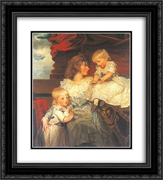Portrait of Harriet, Viscountess Duncannon with Her Sons 20x22 Black or Gold Ornate Framed and Double Matted Art Print by John Hoppner